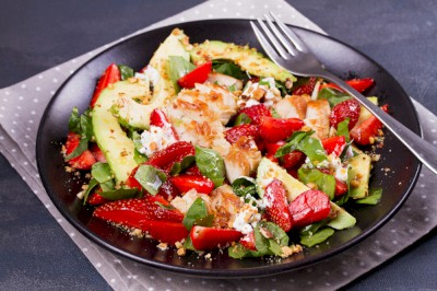 Grilled Chicken Salad with Strawberries, Avocado & Brie